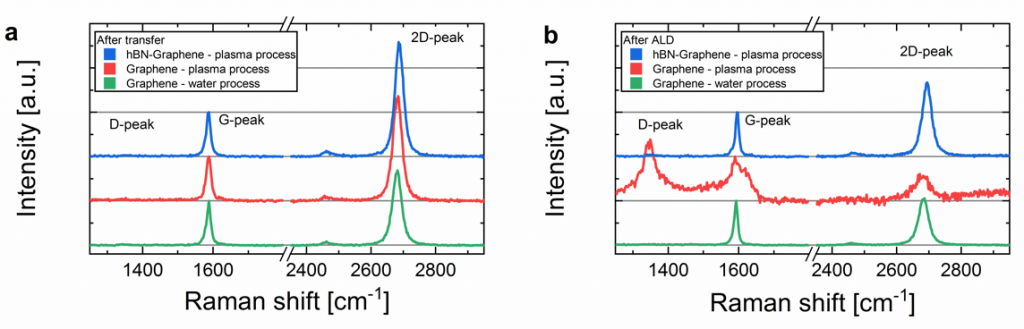 Raman spectra to validate the protective effect of hBN during PEALD.
